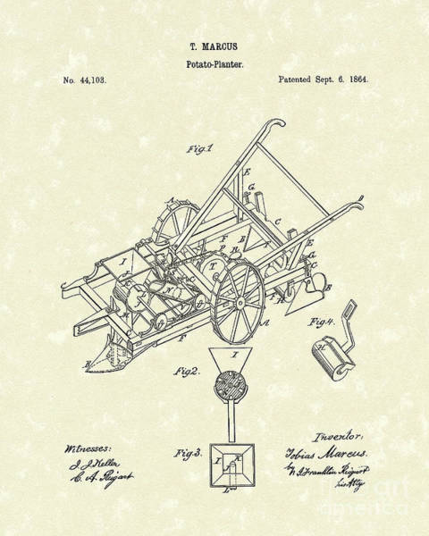 1864 Wall Art - Drawing - Potato Planter 1864 Patent Art by Prior Art Design