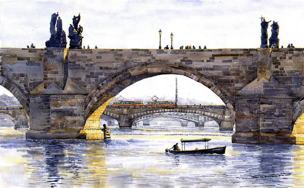 Tram Wall Art - Painting - Prague Bridges by Yuriy Shevchuk