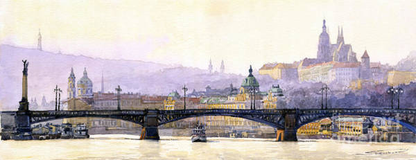 Czech Republic Painting - Prague Panorama Cechuv Bridge Variant by Yuriy Shevchuk