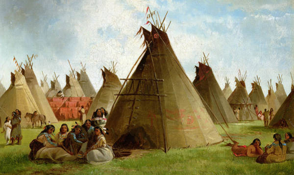 Wild West Wall Art - Painting - Prairie Indian Encampment by John Mix Stanley