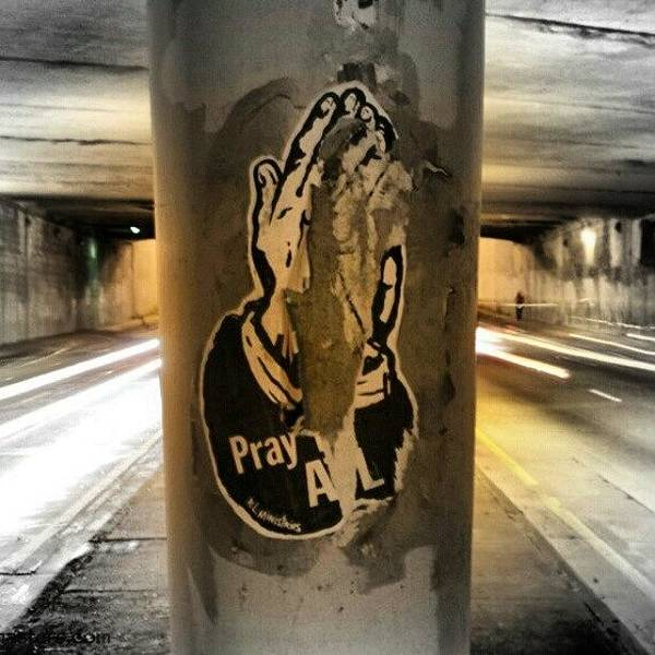 Wall Art - Photograph - Pray For Atl. #atl #pray #bridge #night by Mike Dunn