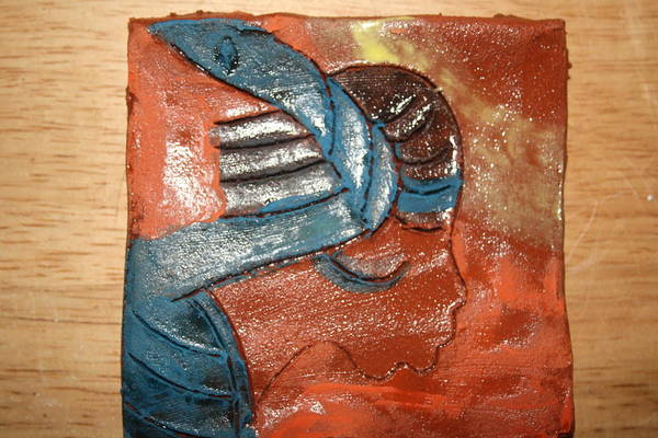 Ceramic Art - Prayer 4 - Tile by Gloria Ssali