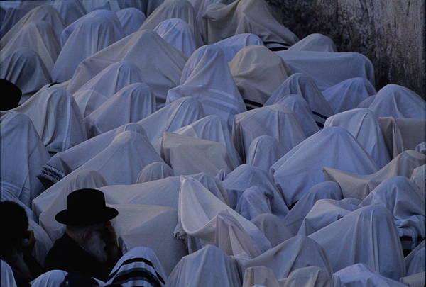 Wall Art - Photograph - Prayer Shawls Cloak Cohanim Blessing by Karen Kasmauski
