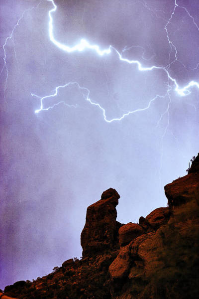 Photograph - Praying Monk Camelback Mountain Paradise Valley Lightning  Storm by James BO Insogna