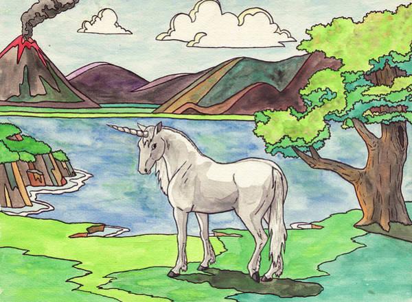 Unicorn Wall Art - Painting - Prehistoric Unicorn by Crista Forest