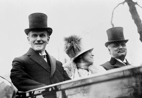 Wall Art - Photograph - President Calvin Coolidge With His Wife And Senator Curtis On The Way To Capitol - C 1925 by International  Images