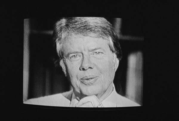Energy Crisis Photograph - President Carter Worn A Cardigan by Everett
