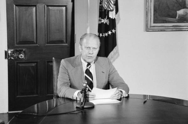 Amnesty Photograph - President Gerald Ford Announcing by Everett