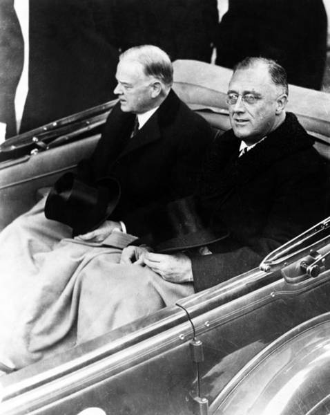 Wall Art - Photograph - President Hoover And President Elect Franklin Delano Roosevelt - C 1933 by International  Images