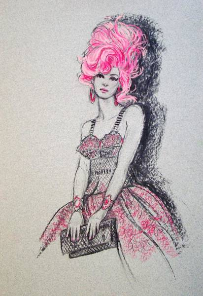 Pink Drawing - Pretty In Pink Hair by Sue Halstenberg