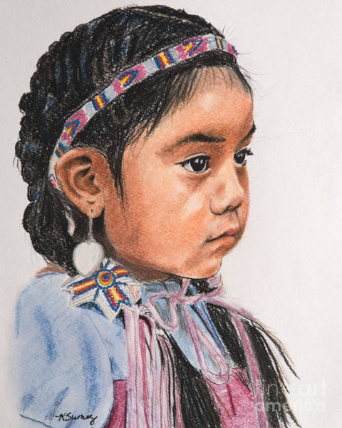 Art Print featuring the pastel Pretty Native American Girl by Kate Sumners
