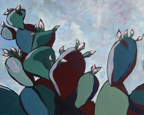 Cactus Flower Wall Art - Painting - Prickly Pear Stand by Sandy Tracey