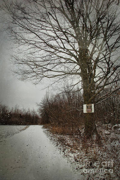 Wall Art - Photograph - Private Property Sign On Tree In Winter by Sandra Cunningham