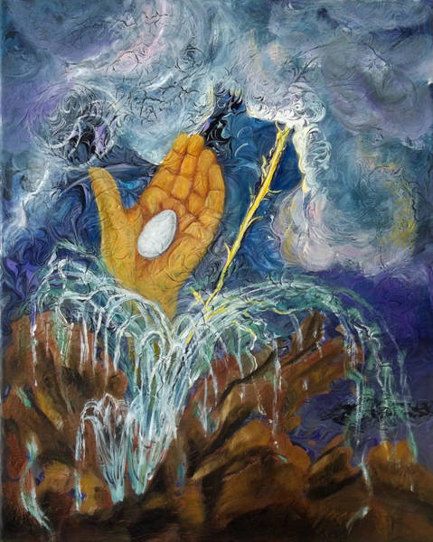 Painting - Prophetic Message Sketch 12 Stone And Water Springs From Rock by Anne Cameron Cutri
