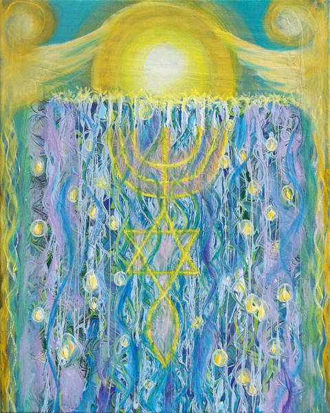 Painting - Prophetic Message Sketch Painting 26 Elohim Elohim Latter Rain by Anne Cameron Cutri