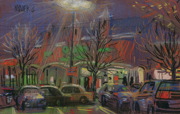 Mall Wall Art - Drawing - Publix In The Evening by Donald Maier