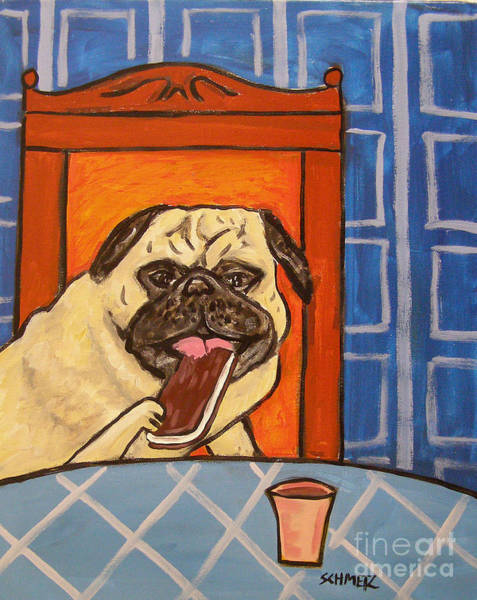 Ice Cream Sandwich Painting - Pug Eating An Ice Cream Sandwich by Jay  Schmetz