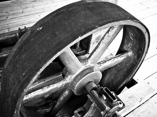 Grist Mill Photograph - Pulley Wheel From Industrial Sawmill by Paul Velgos