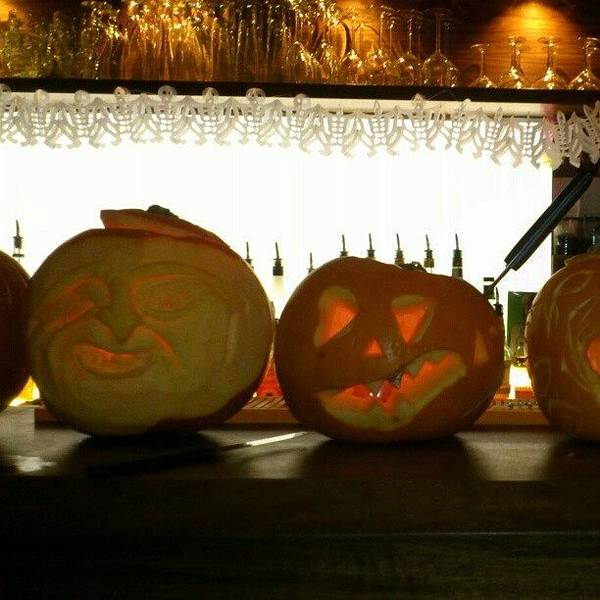 Beer Wall Art - Photograph - #pumpkin Carving At #shintori #bar In by Robin Beer