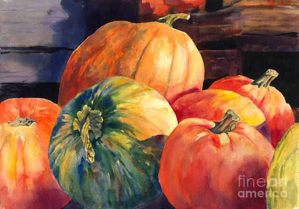 Painting - Pumpkins And Green Pumpkin by Hilda Vandergriff