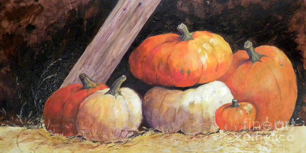 Painting - Pumpkins In Barn by Hilda Vandergriff
