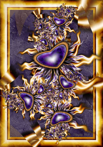 Digital Art - Purple Hearts by Karla White