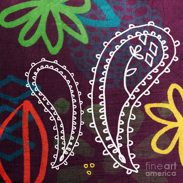 West Indian Wall Art - Painting - Purple Paisley Garden by Linda Woods