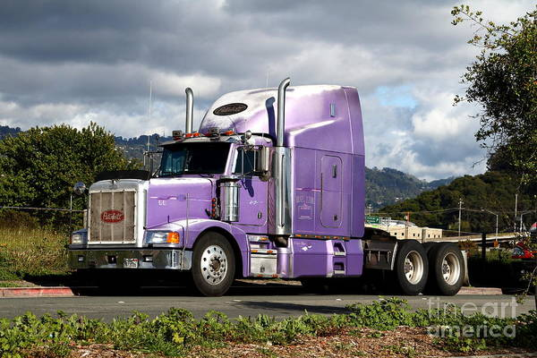 Peterbilt Photograph - Purple Peterbilt Big Rig Truck . 7d15085 by Wingsdomain Art and Photography