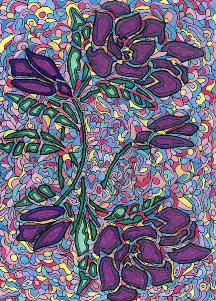 Dark Pink Drawing - Purple Roses by Yvette Pichette