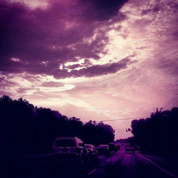 Car Photograph - #purple #sky #clouds #driving by Katie Williams