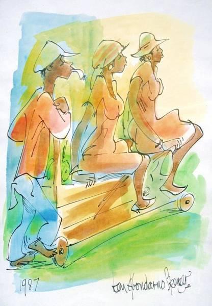 Reggae Painting - Push Cart by Carey Chen