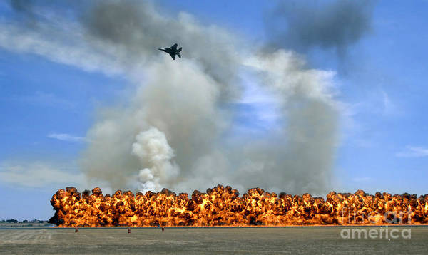 Photograph - Pyrotechnics Explode While An F-15 by Stocktrek Images
