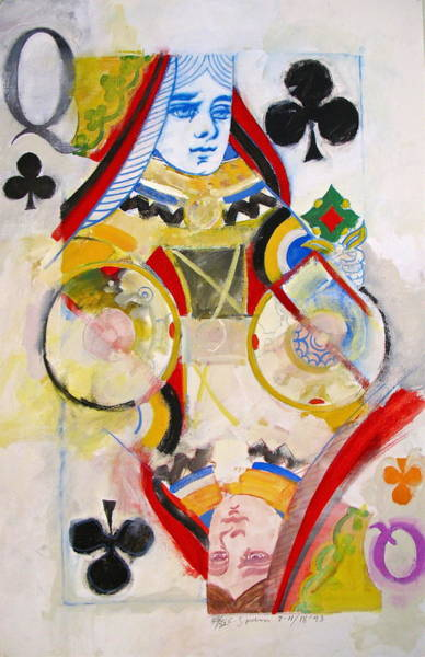 Painting - Queen Of Clubs 28-52  by Cliff Spohn