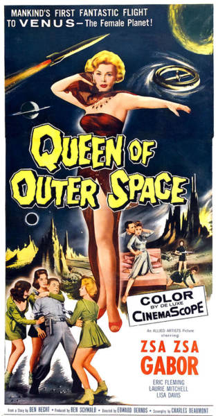 1958 Movies Photograph - Queen Of Outer Space, Center Zsa Zsa by Everett