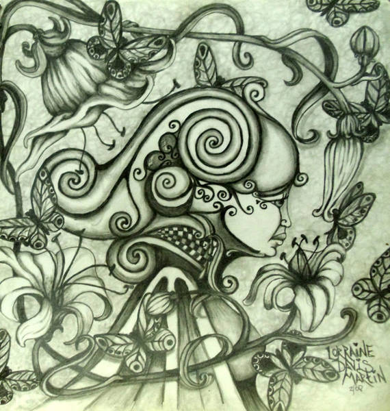 Wall Art - Drawing - Queen Of The Lillies by Lorraine Davis Martin