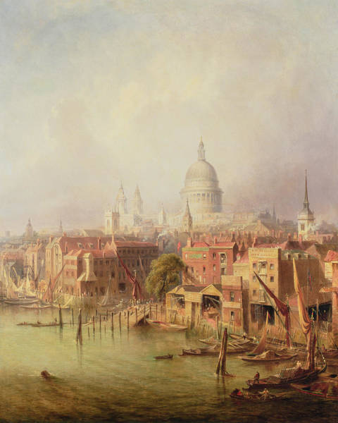 Steeple Wall Art - Painting - Queenhithe - St. Paul's In The Distance by F Lloyds