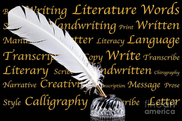 Written Language Photograph - Quill Pen And Inkwell On Black Background by Richard Thomas
