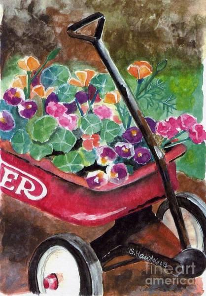 Red Wagon Painting - Radio Flyer Garden by Sheryl Heatherly Hawkins