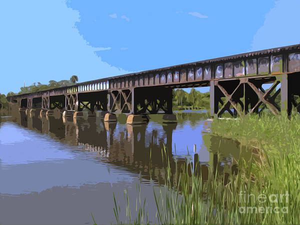 Freight Trains Painting - Railroad Bridge by Allan  Hughes