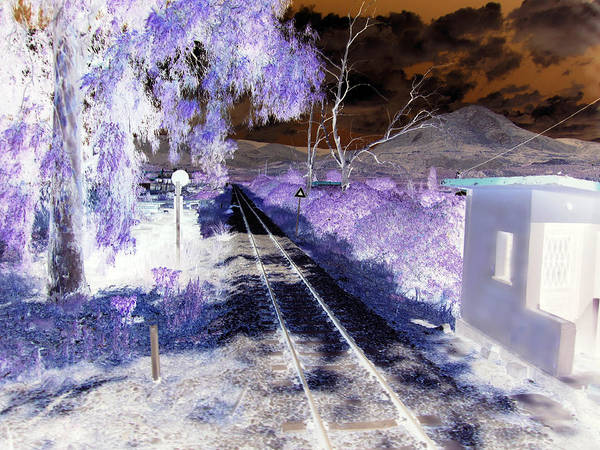 Photograph - Railroad Crossing Glowing At Night In Negative Xray Look On The Way From Mycenae To Olympia Greece by John Shiron