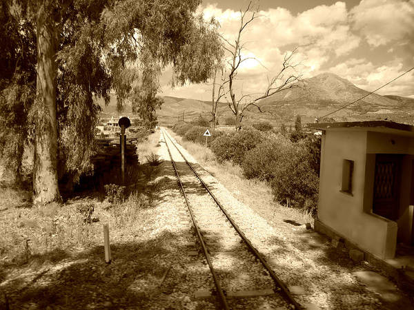 Photograph - Railroad Crossing In Sepia Look On The Way From Mycenae To Olympia In Greece by John Shiron
