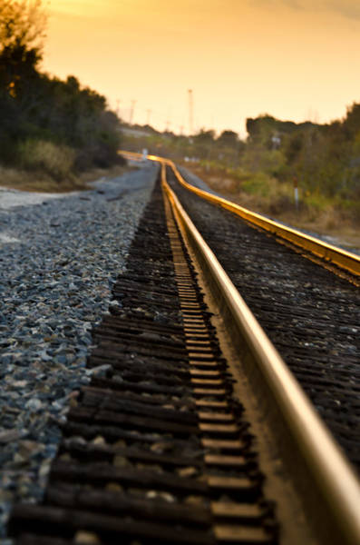 Photograph - Railroad Tracks At Sundown by Carolyn Marshall