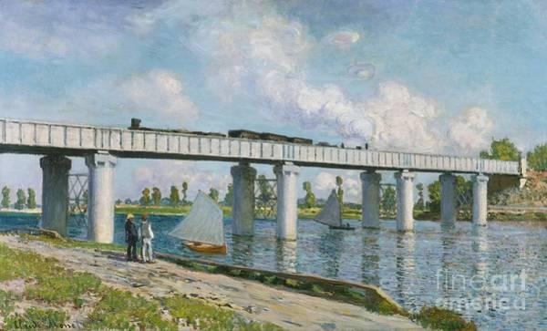 Monet Painting - Railway Bridge At Argenteuil by Claude Monet
