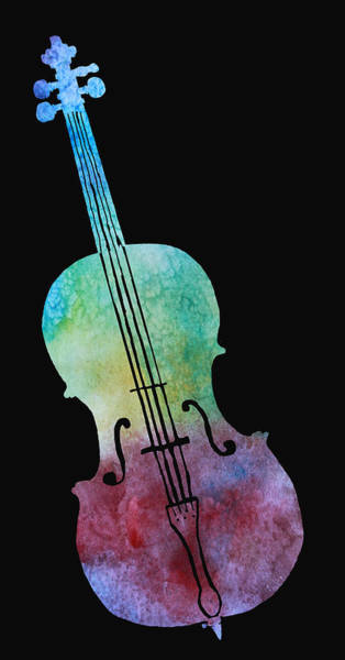 Cello Wall Art - Painting - Rainbow Cello by Jenny Armitage