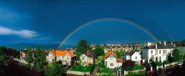 Horizontally Photograph - Rainbow Over Housing, Monkstown, Co by The Irish Image Collection