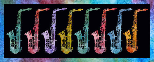 Marching Digital Art - Rainbow Saxophones  by Jenny Armitage