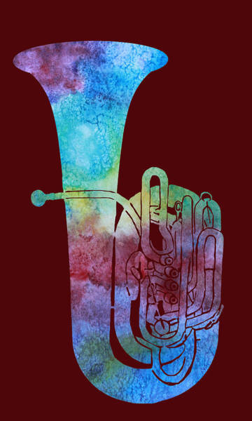 Marching Digital Art - Rainbow Tuba by Jenny Armitage