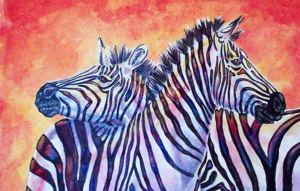 Wall Art - Painting - Rainbow Zebras by Diana Shively
