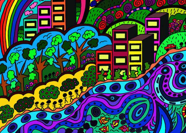 Wall Art - Drawing - Rainbows End by Karen Elzinga