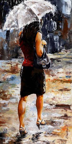 Wall Art - Painting - Rainy Day - Woman Of New York 04 by Emerico Imre Toth